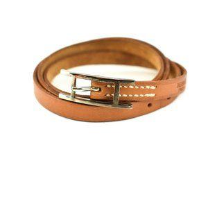 HERMES Hapi: Brown, Leather & Silver H Bracelet ov
